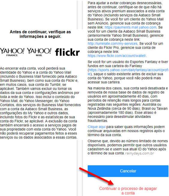 Como apagar uma conta do Yahoo