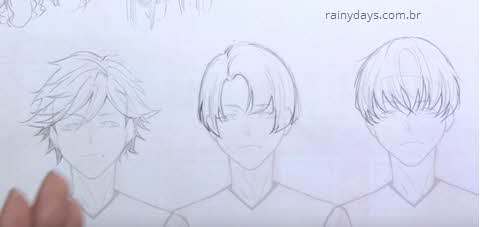 Como desenhar cabelo emo, anime, mangá