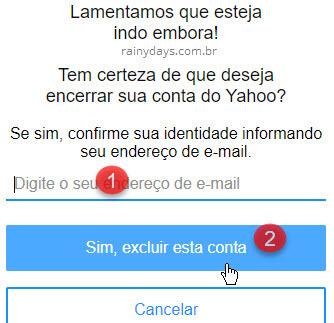 Excluir conta do Yahoo