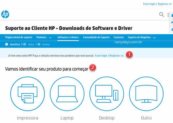 Como fazer download de drivers da HP
