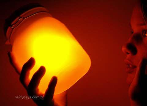 O Sol na sua mão, jarra com sol dentro, bateria solar