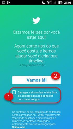 carregar e sincronizar contatos cadastro no app Twitter