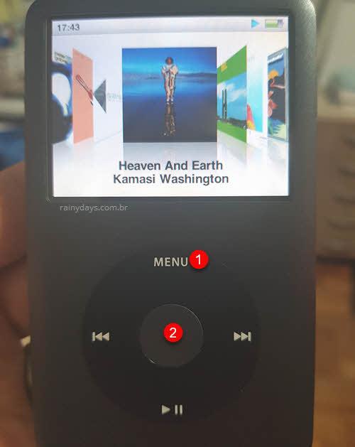 Como resetar iPod travado botão Menu e Select iPod Classic