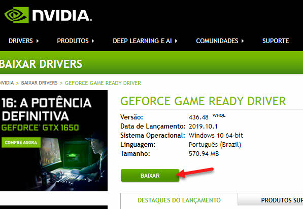 Baixar driver Geforce NVIDIA