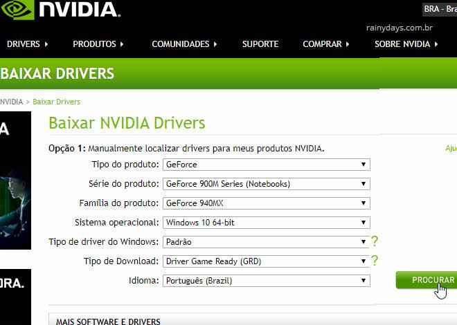 Download de drivers da NVIDIA manualmente