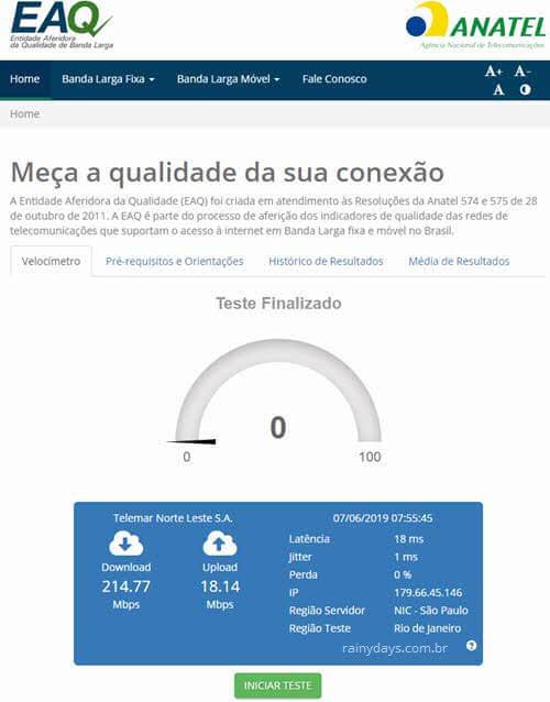 Medir velocidade da conexão com a internet velocímetro EAQ Anatel
