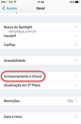 Geral Armazenamento e iCloud iPhone