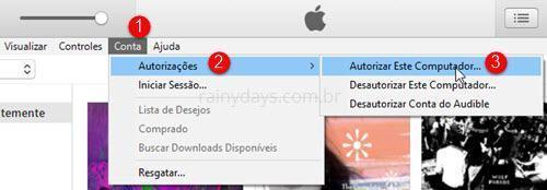 Autorizar e desautorizar computadores na iTunes Store