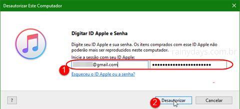 Autorizar e desautorizar computadores na iTunes Store 5
