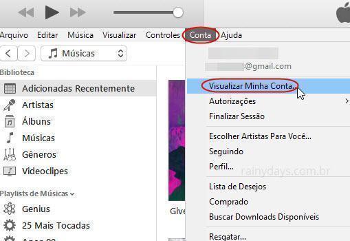 Visualizar minha conta iTunes Store