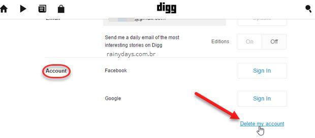 Como apagar conta do Digg
