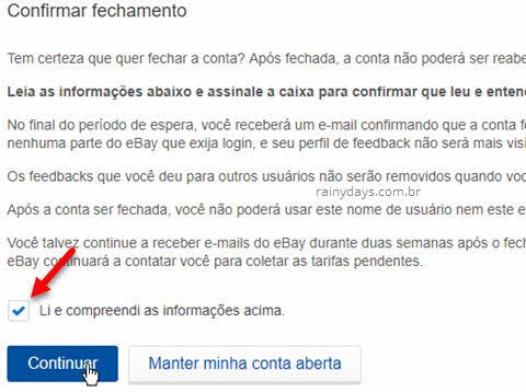 Como excluir conta do eBay