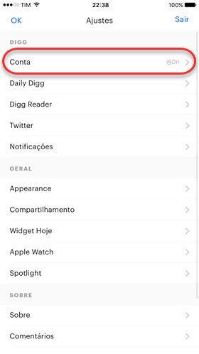 configurações de conta no Digg aplicativo móvel