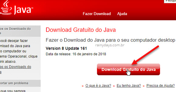 Download gratuito do Java para IRPF