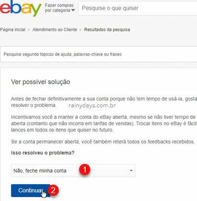 Fechar definitivamente conta do eBay