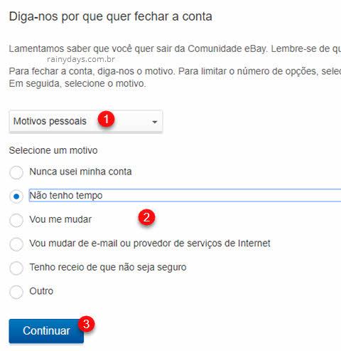 selecione motivo fechar conta do eBay