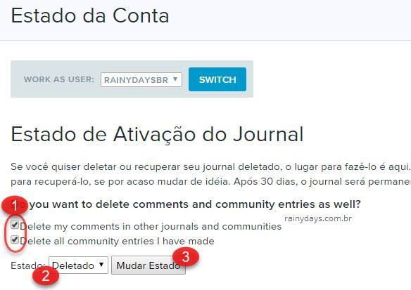 como apagar conta do LiveJournal