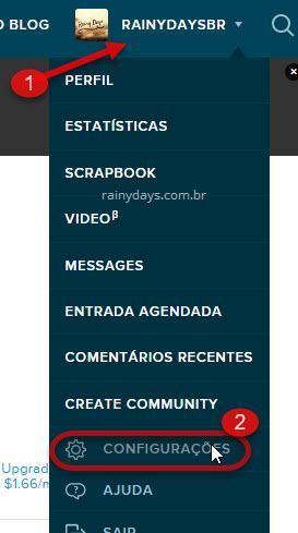 configurações de conta LiveJournal