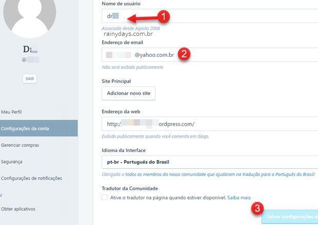 configurações de conta WordPress