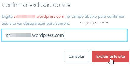 Confirmar exclusão de site WordPress
