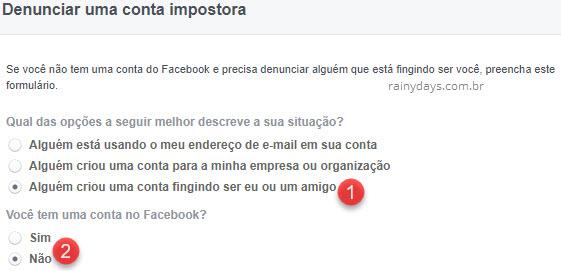 Denunciar alguém usando meu nome no Facebook