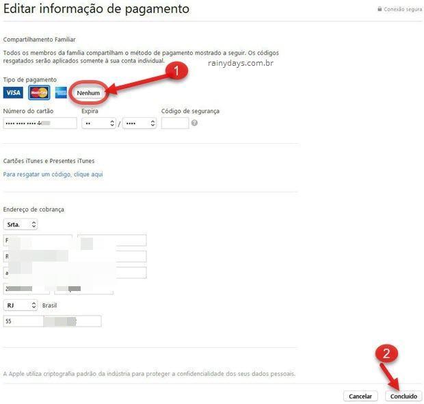 Editar informação de pagamento iTunes Store Apple