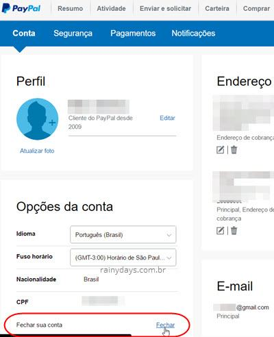 Como excluir conta do PayPal 2