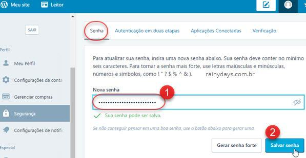 Modificar senha do WordPress