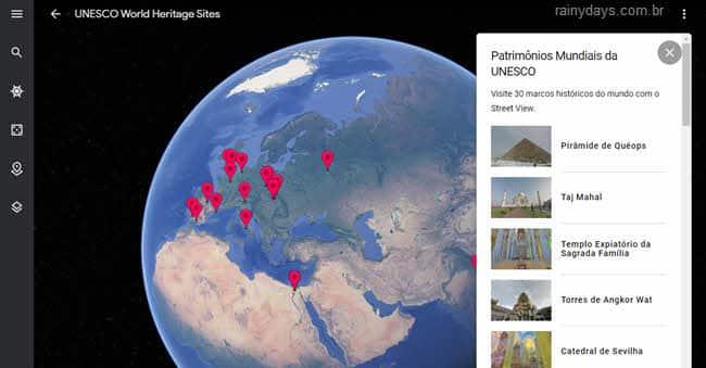 Patrimônios da Humanidade online no Google Earth