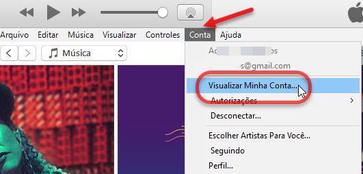 Visualizar minha conta iTunes Apple