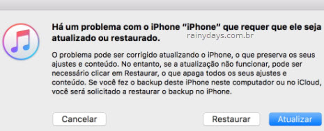 problema com iPhone restaurar