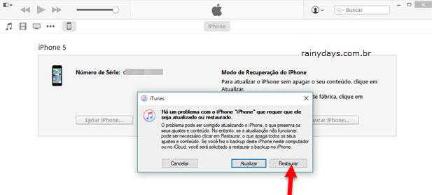 restaurar iPhone para configurações de fábrica modo recuperação