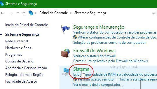 configurações Sistema do Windows