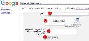 Denunciar site com vírus e phishing para Google