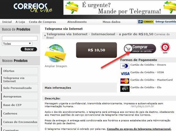 Como enviar telegrama pela internet