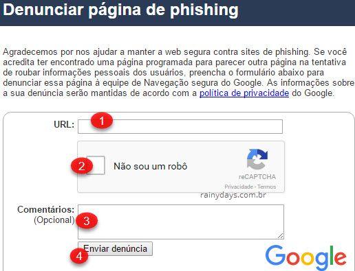 reportar site de phishing para o Google