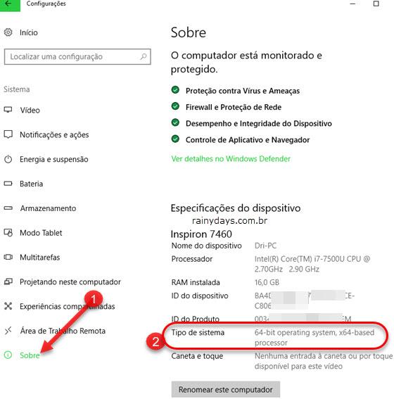 Sobre Tipo de sistema versão Windows 10