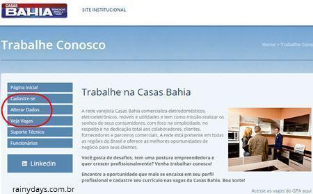 enviar currículo para Casas Bahia online