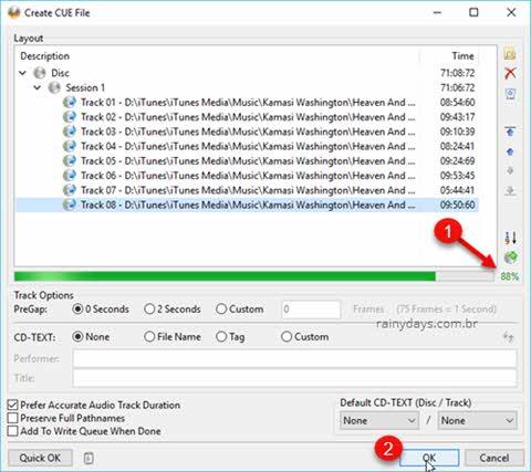 Janela Create CUE File porcentagem mp3 para o CD de áudio