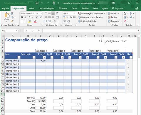 Modelos de orçamentos para Office grátis, download planilha