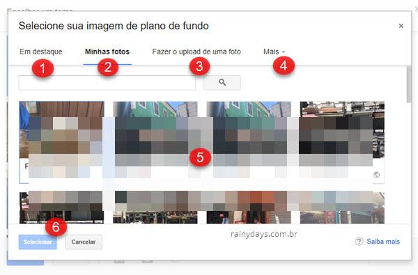 Selecionar imagem de plano de fundo no Gmail