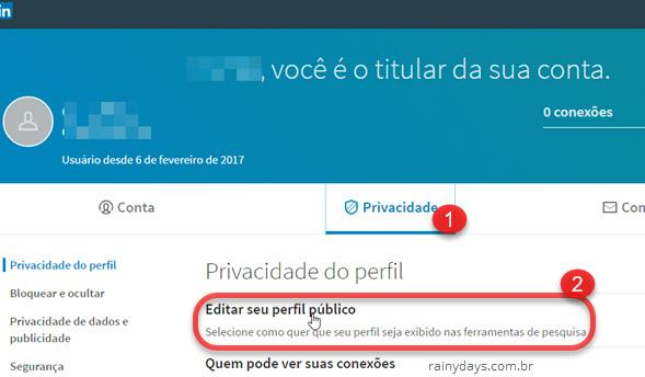 editar seu perfil público do LinkedIn