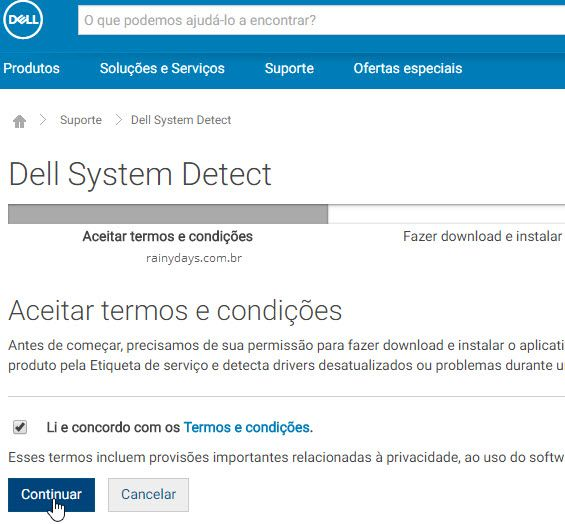 aceitar termos Dell System Detect