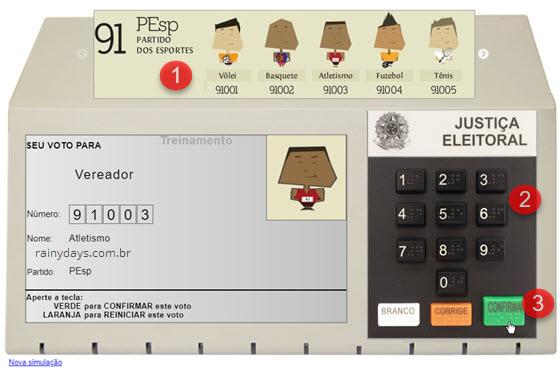 Simulador de votação na Urna Eletrônica TSE