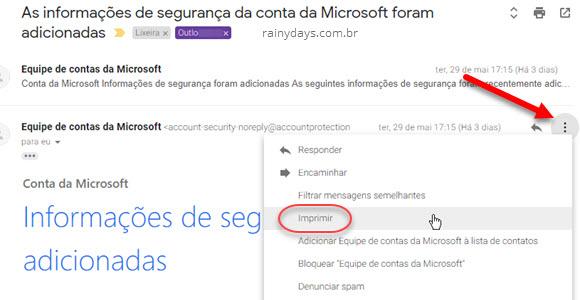 Como imprimir mensagem individual no Gmail, clicar ícone de três bolinhas