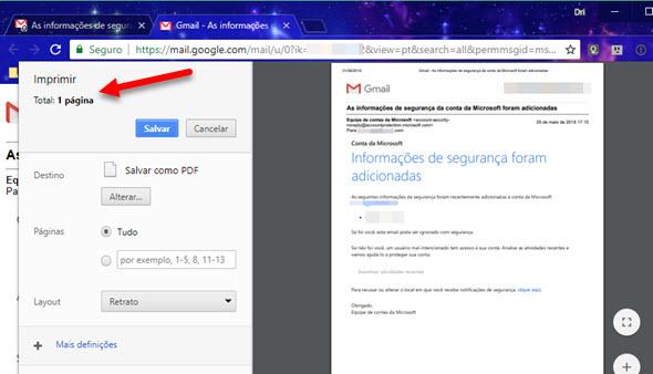 Página de impressão do Gmail, apenas uma página para imprimir