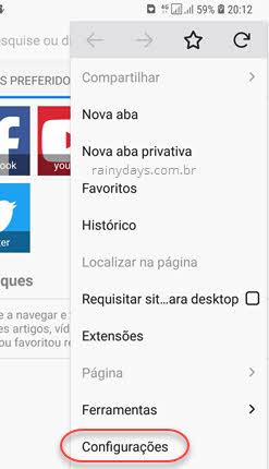 configurações Firefox Android