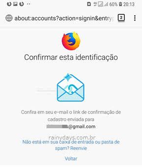 Confirmar esta identificação Firefox Sync Android