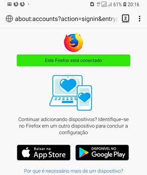 Este firefox está conectado Android Sync