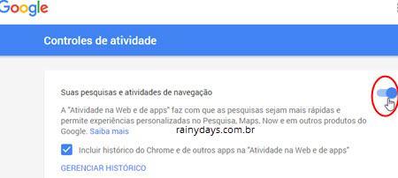 excluir histórico da web Google 4